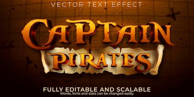 Kapitein piraten teksteffect, bewerkbaar schip en avontuur tekststijl