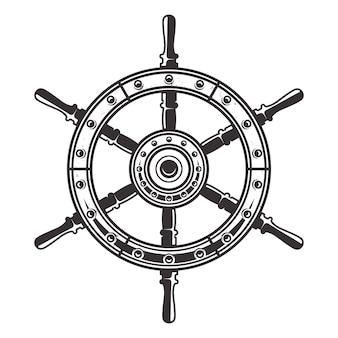 Kapitein stuurwiel in vintage zwart-wit stijl illustratie