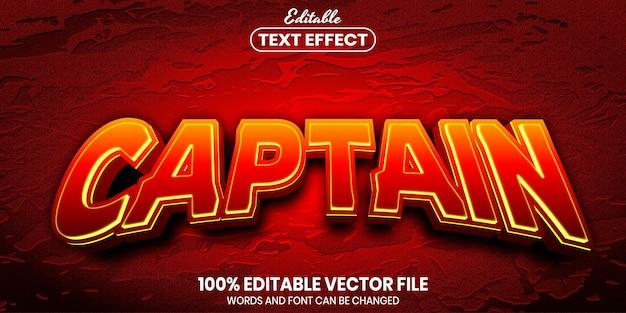 Kapitein-tekst, bewerkbaar teksteffect in lettertypestijl