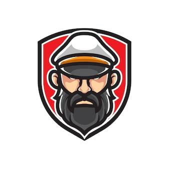 Kapitein van een scheepsbadge-logo