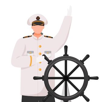 Kapitein vlakke afbeelding. cruiseschip. navigator met roer. zeevaarder. schipper in werk uniforme geïsoleerde stripfiguur op witte achtergrond