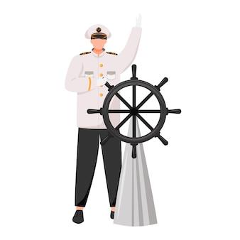 Kapitein vlakke afbeelding. navigator met roer. cruiseschip. zeevaarder. schipper in werk uniforme geïsoleerde stripfiguur op witte achtergrond