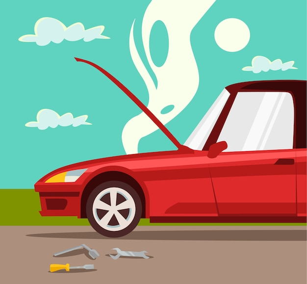 Kapotte auto ongeval met auto oververhitte motor rode auto crash en ongeval met auto, platte cartoon afbeelding