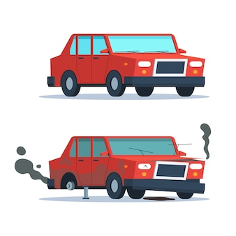 Kapotte en oké auto