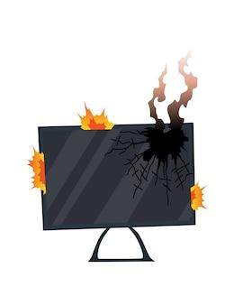 Kapotte huishoudelijke apparaten. beschadigde monitor. binnenlandse pictogram geïsoleerd