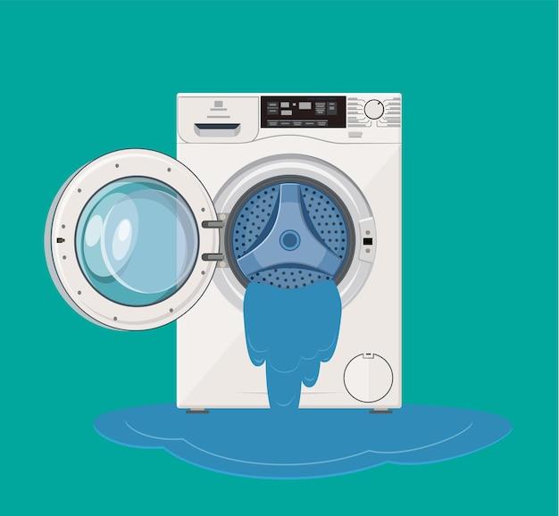 Kapotte wasmachine waaruit water stroomt. de meester bellen