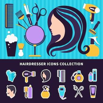 Kapper gekleurde compositie met stijlelementen en hulpmiddelen voor kapperszaak en schoonheidssalon