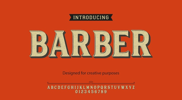 Kapper lettertype. type ontwerp