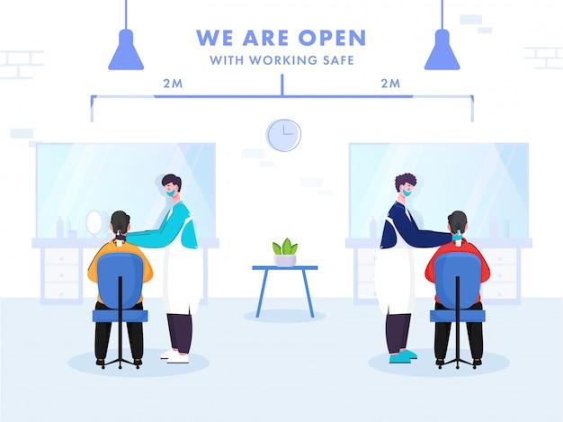 Kapper mannen haarknippen aan klanten houd afstand 2 meter om coronavirus te voorkomen. we zijn open poster.