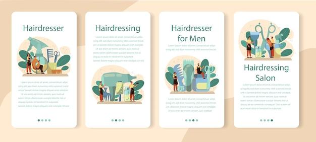 Kapper mobiele applicatie banner set. idee van haarverzorging in salon. schaar en borstel, shampoo en kapselproces. haarbehandeling en styling.