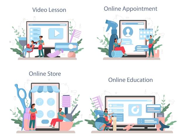 Kapper online service of platform set.