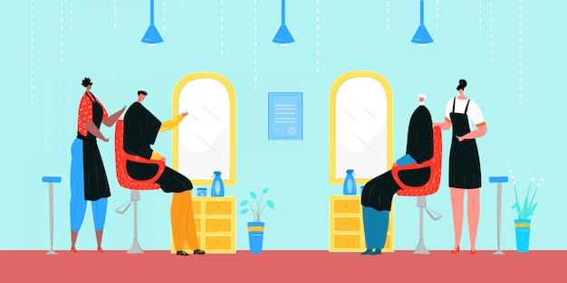 Kapper werk in salon, mode-kapper met illustratie van de klantpersoon. hoofdkapselstijl voor het haar van de klant, kapper van een kapperszaak. professionele mensen kapsel job service.