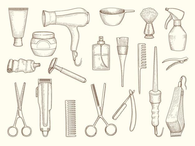 Kapper winkel collectie. tekening accessoires voor schoonheid kapsel salon scheermes kam schaar drogen shampoo spray handdoek.
