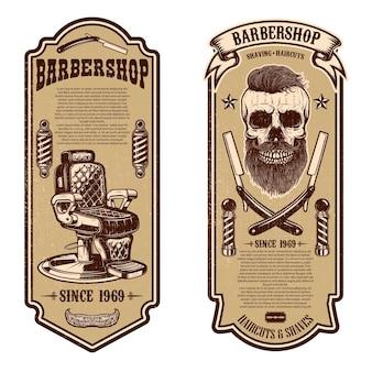 Kapper winkel folder sjabloon. kappersstoel en schedel op witte achtergrond. ontwerpelement voor embleem, teken, poster, kaart, banner.