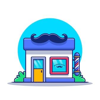 Kapper winkel gebouw met snor pictogram cartoon pictogram illustratie. barber shop building icon concept geïsoleerd. platte cartoon stijl