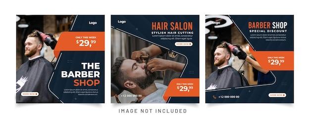 Kapper winkel promotie advertentie social media post sjabloon sjabloon voor spandoek