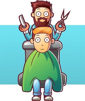 Kappermens die het haar van een cliënt snijdt