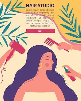 Kappers met professionele gereedschappen geven om het haar en de haarstijl van een lange vrouw