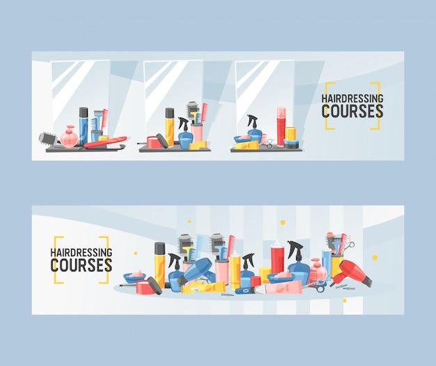Kapperscursussen in salonreeks van banners vectorillustratie. spiegel en tafel met benodigdheden om kapsel of kapsel te doen. droger, ventilator
