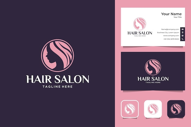 Kapsalon vrouwen logo ontwerp en visitekaartje