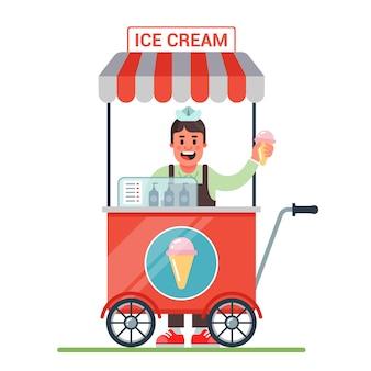Kar op wielen met ijs. vrolijke verkoper verkoopt ijs. plat karakter