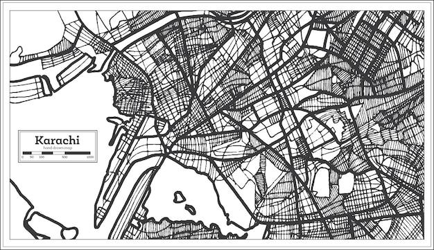 Karachi pakistan stadsplattegrond in zwart-witte kleur. vectorillustratie. overzicht kaart.