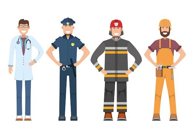 Karakter arts, politieagent, arbeider, brandweerman staande geïsoleerd op wit, vlakke afbeelding. menselijke mannelijke belangrijke professionele activiteit, beroep van glimlachende mensen, sociale bezigheid.