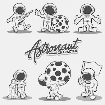 Karakter astronaut Premium Vector