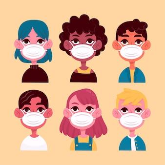 Karakter avatar met chirurgische maskers