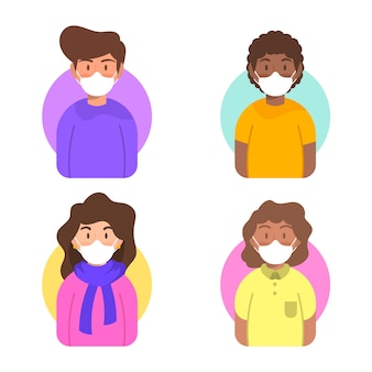 Karakter avatar met medische maskers