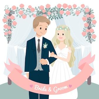 Karakter bruidspaar bloemen boog