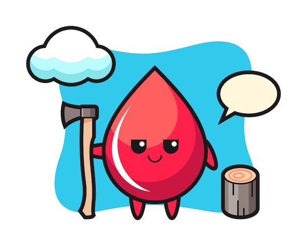 Karakter cartoon van bloeddruppel als een houthakker, schattige stijl, sticker, logo-element