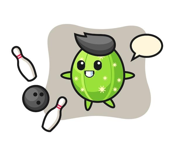 Karakter cartoon van cactus speelt bowlen