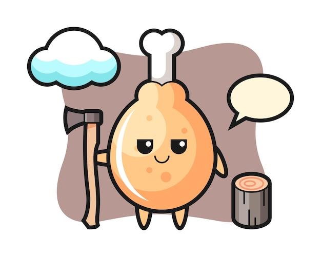 Karakter cartoon van gebakken kip als houthakker