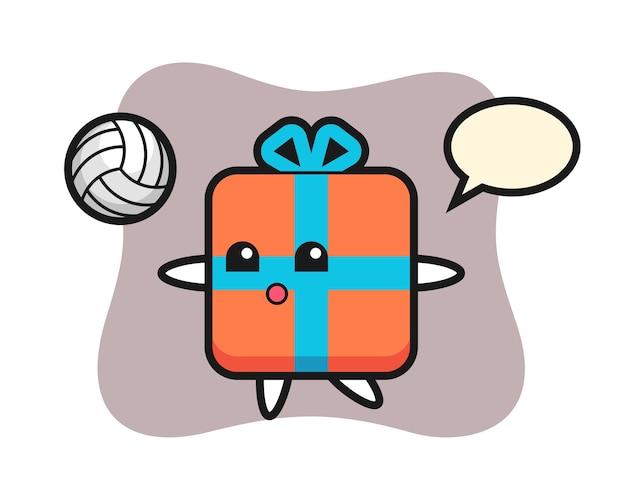 Karakter cartoon van geschenkdoos is volleyballen