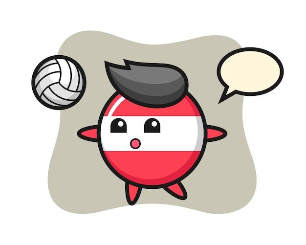 Karakter cartoon van oostenrijk vlag badge speelt volleybal
