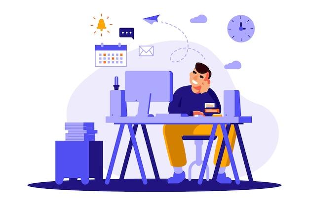 Karakter dagdromen in plaats van werken