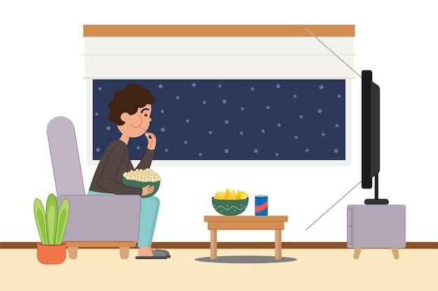 Karakter dat popcorn eet en een film kijkt