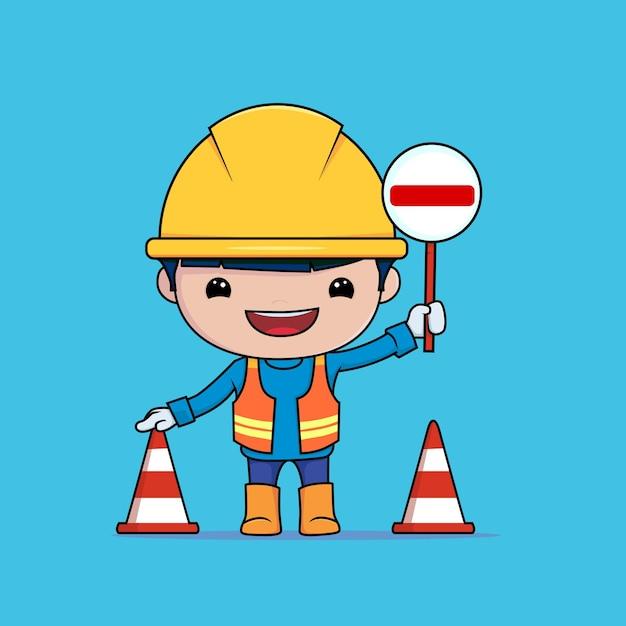 Karakter de bouwvakker heeft een waarschuwing stopbord en kegel