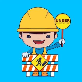 Karakter de bouwvakker heeft een waarschuwingsbord premium vector