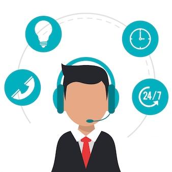Karakter die de pictogrammen van het hoofdtelefooncall centre dragen