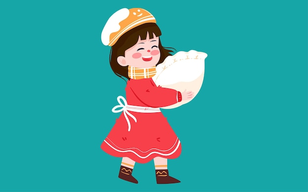Karakter eten dumplings illustratie winterzonnewende zonne-termen lente festival voedsel poster