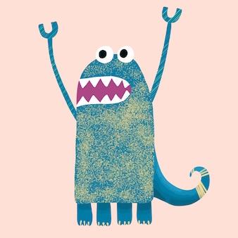 Karakter grappig gekarteld schattig monster