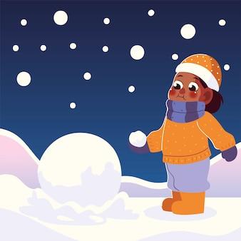 Karakter grappige jongen in de winter met hoed en sneeuwbal vectorillustratie