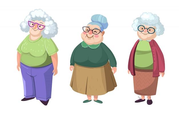 Karakter grootmoeder met verschillende gezichten