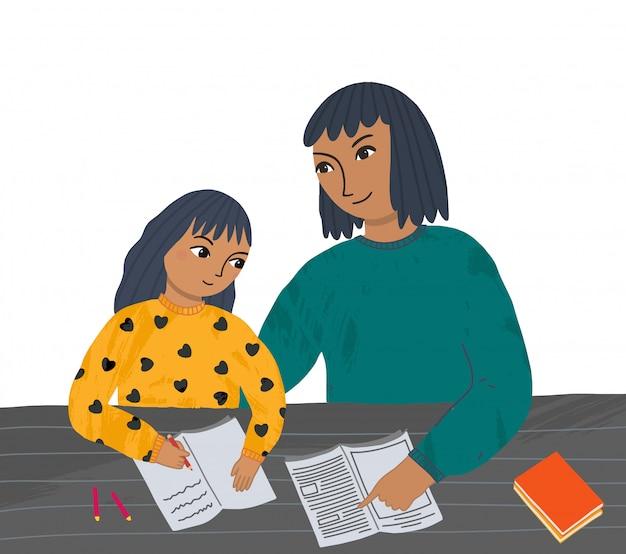 Karakter illustratie leraar of moeder helpt een meisje om een les te leren.