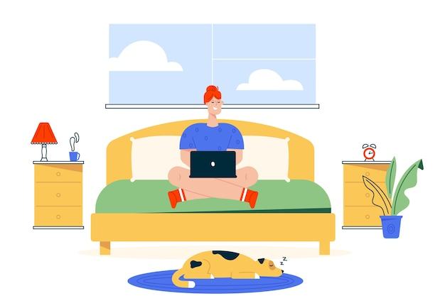 Karakter illustratie van werk thuis. externe werker vrouw die op laptop werkt op bed in haar slaapkamer. kantoor aan huis interieur, hond huisdier, comfortabele werkplek. flexibele werktijden freelancer