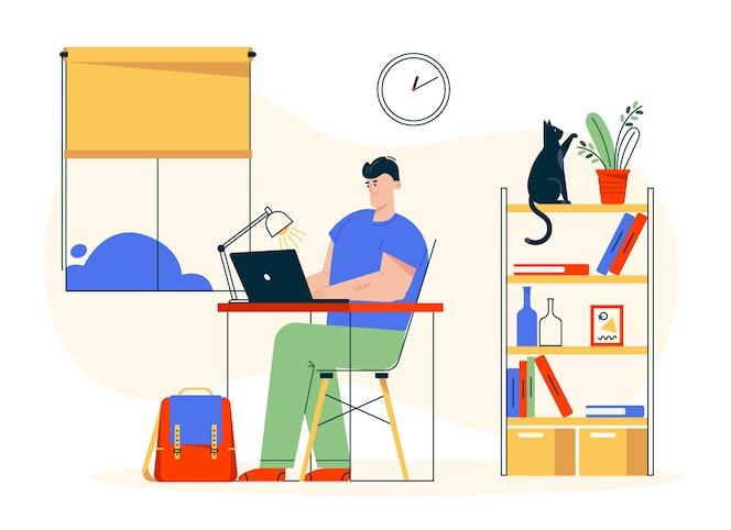 Karakter illustratie van werk thuis. externe werknemer man zit aan bureau, werkt op laptop. thuiskantoorinterieur, boekenplank, kattenhuisdier, comfortabele werkplek. freelancer in creatieve studio
