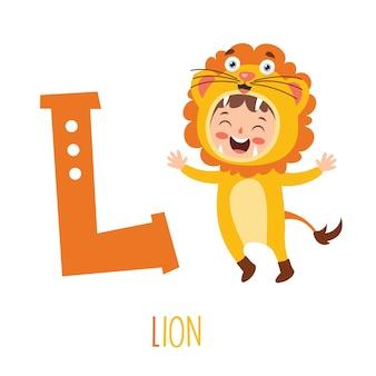 Karakter in dierenkostuum met alfabet letter