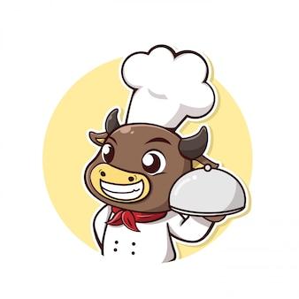 Karakter koe neemt een chef-kok jurk en steak houder